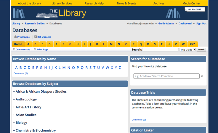 Databases Libguide