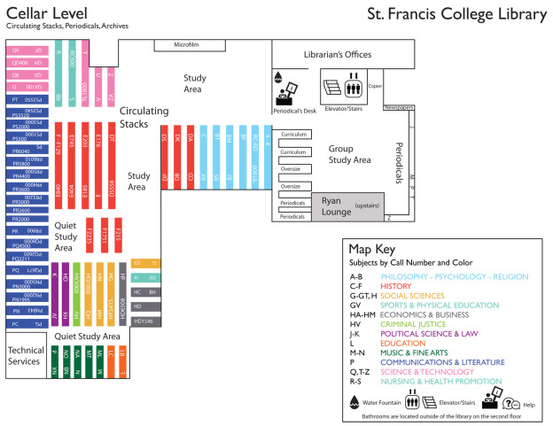 New St. Francis College Library Map -- Front
