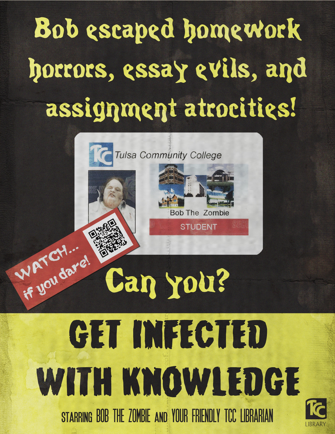 photoshop page librarian design share get infected knowledge zombie library promo video poster