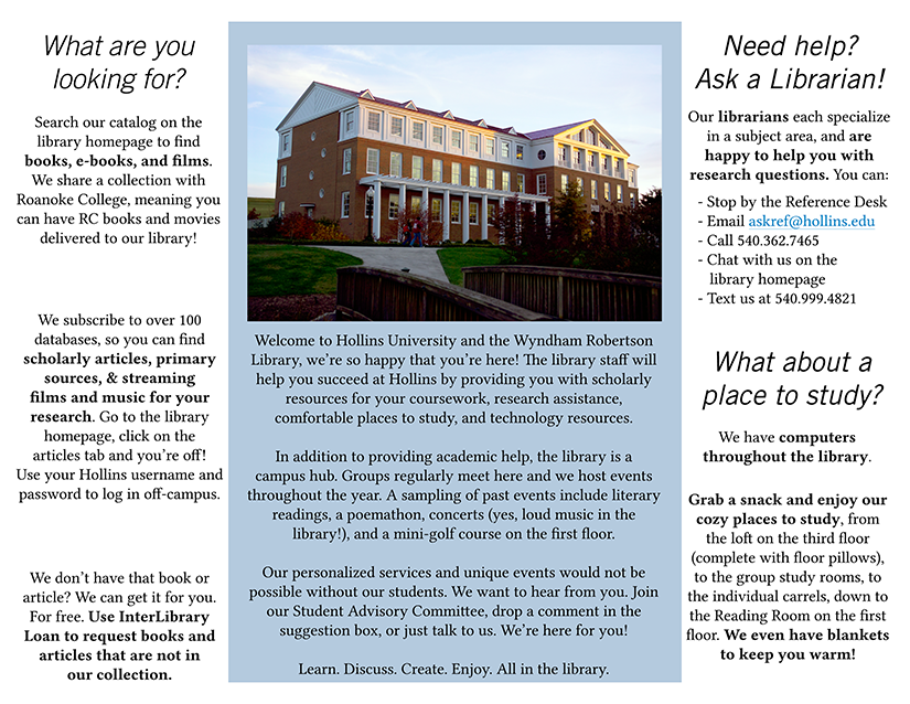 Emory College Classroom Design Guide ~ Brochures for students alumni librarian design share