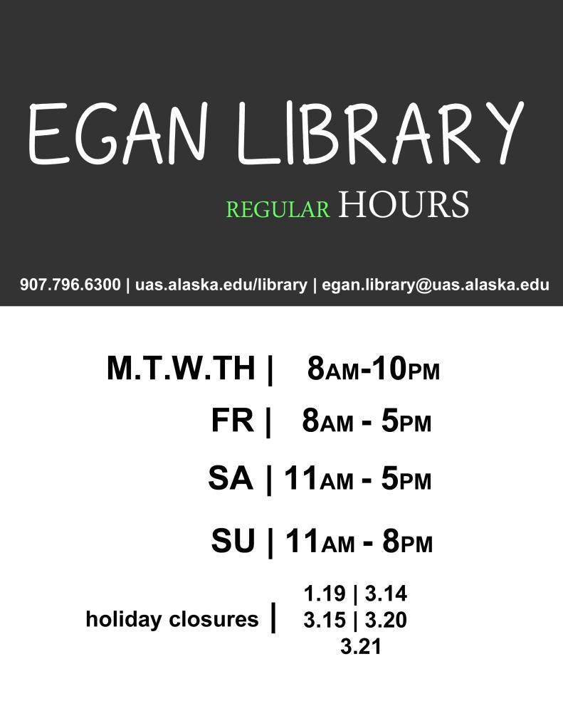 Egan Library Regular Hours