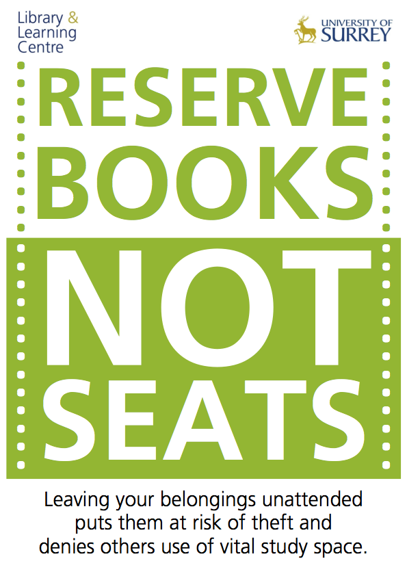 Reserve books not seats poster