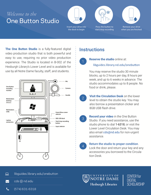 One Button Studio Instructional Handout / Flyer created by Randal Harrison
