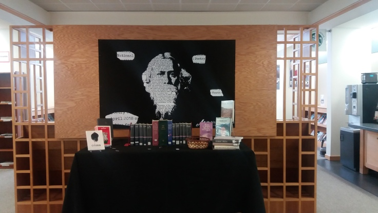 library display with books, poster in the style of blackout poetry