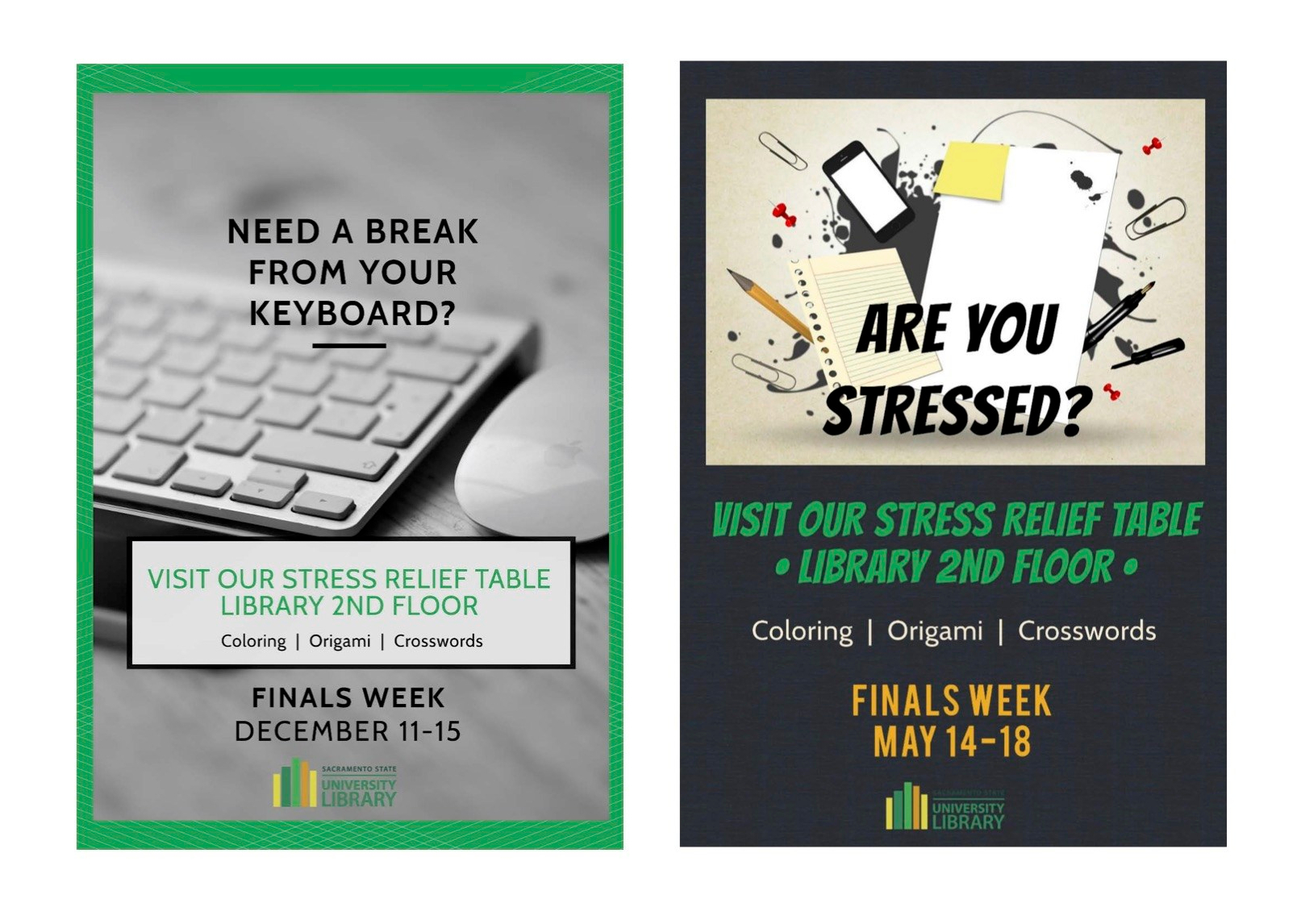 two fliers for stress relief activities