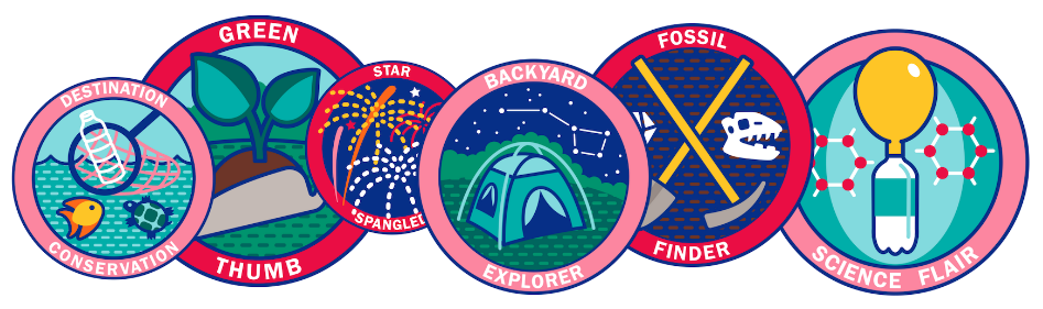 badges for summer programming. awards include: fossil finder, science flair, backyard explorerer, star spangled, green thumb, destination conservation